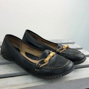Born Black Leather Loafers Shoes Bamboo Size 7.5